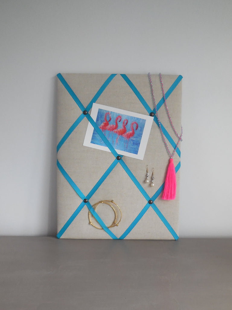 Linen fabric noticeboard from Handcrafted by Harriet