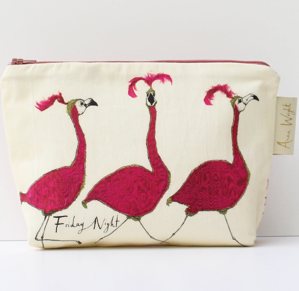 friday night flamingoes make up bag from anna wright illustration