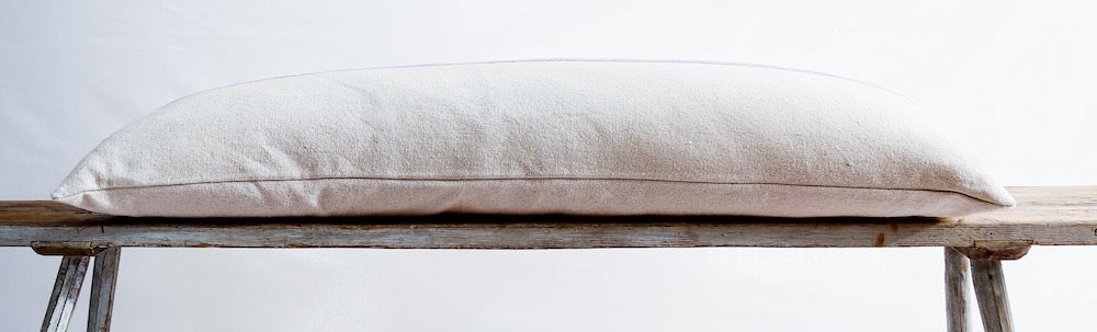 Grey stripe bench cushion from Masion Brocante