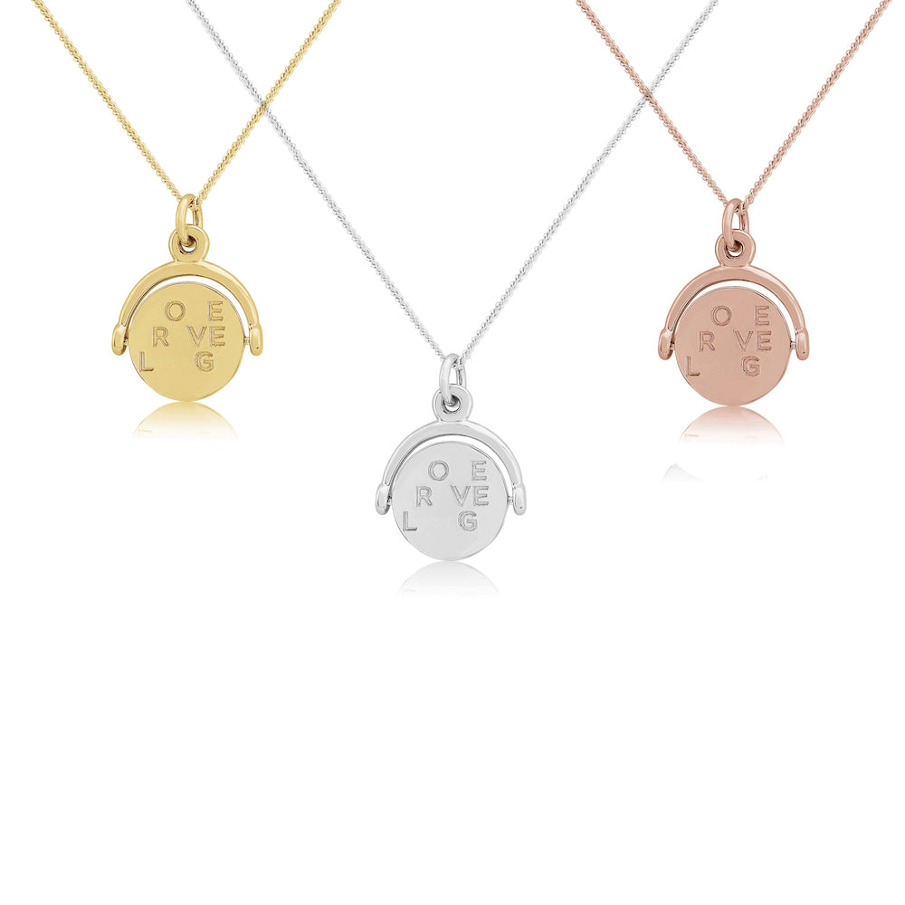 Seychelles rose gold spinning love laugh travel pendant love laugh travel spinning pendant necklace from auree jewellery mozeypictures Gallery