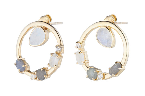 Gold Bee & Pendant Earrings - Ice Blue