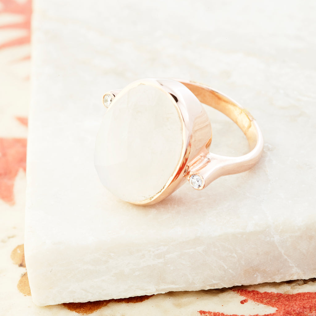 Crystal Accent Ring - Rose Gold