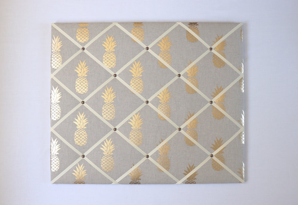 gold pineapple fabric notice board from handcrafted by harriet