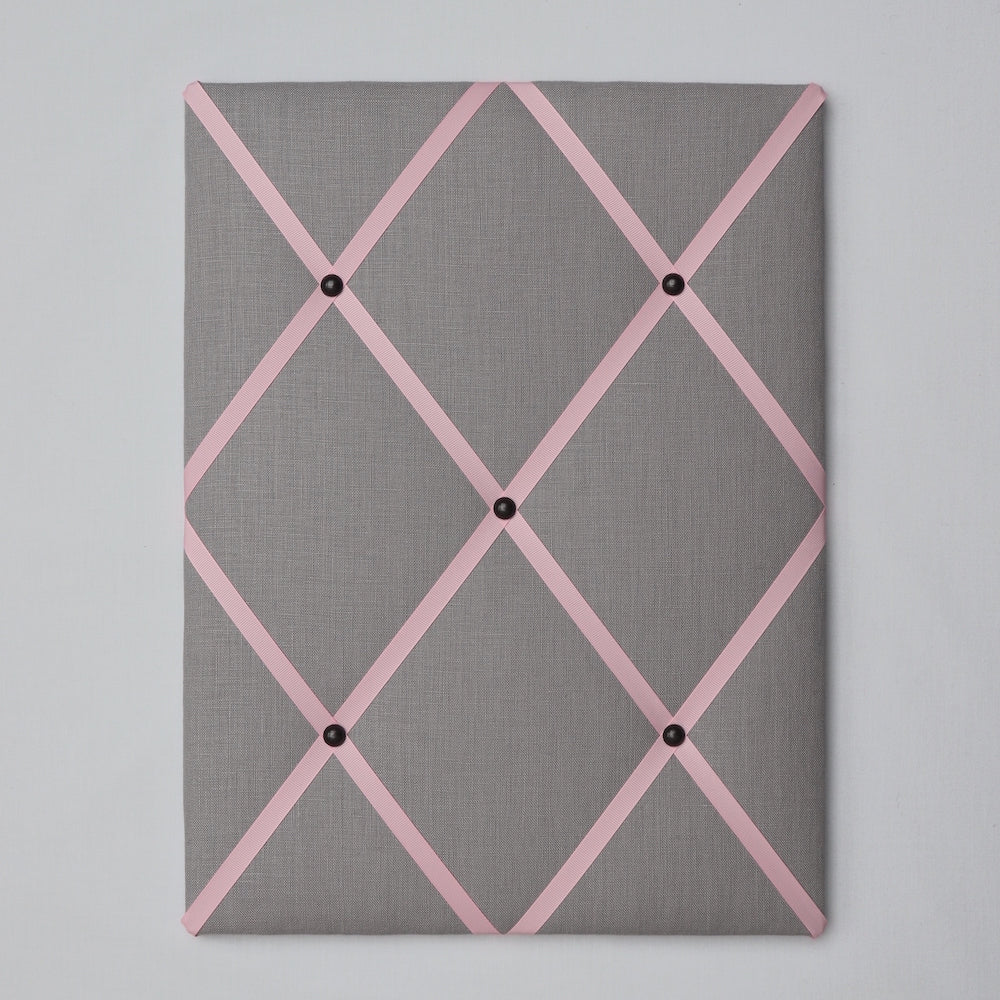 Light grey linen fabric noticeboard from Handcrafted by Harriet