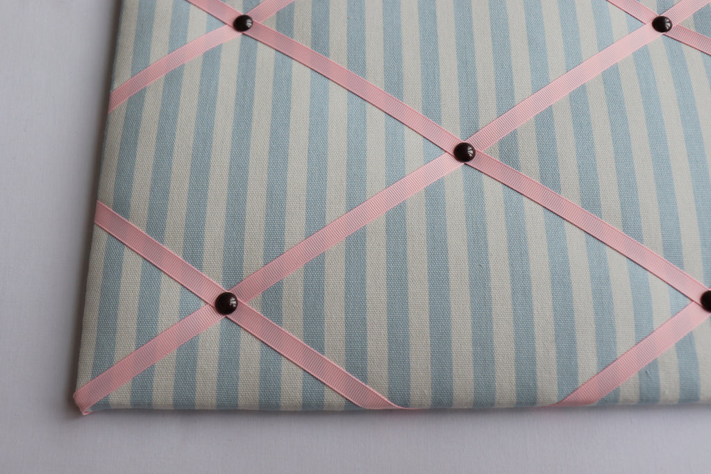 Blue Ticking Stripe Noticeboard with Coloured Ribbon