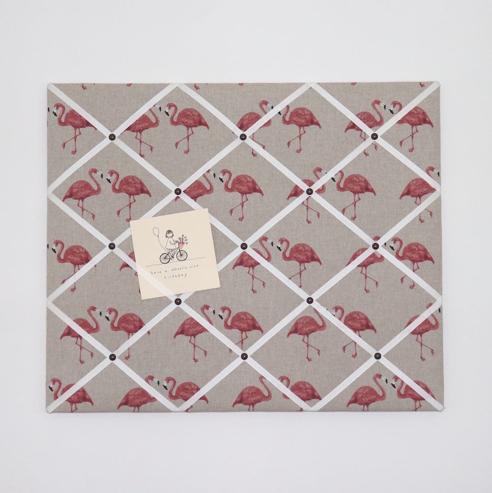 Flamingo Fabric Noticeboard with Coloured Ribbon