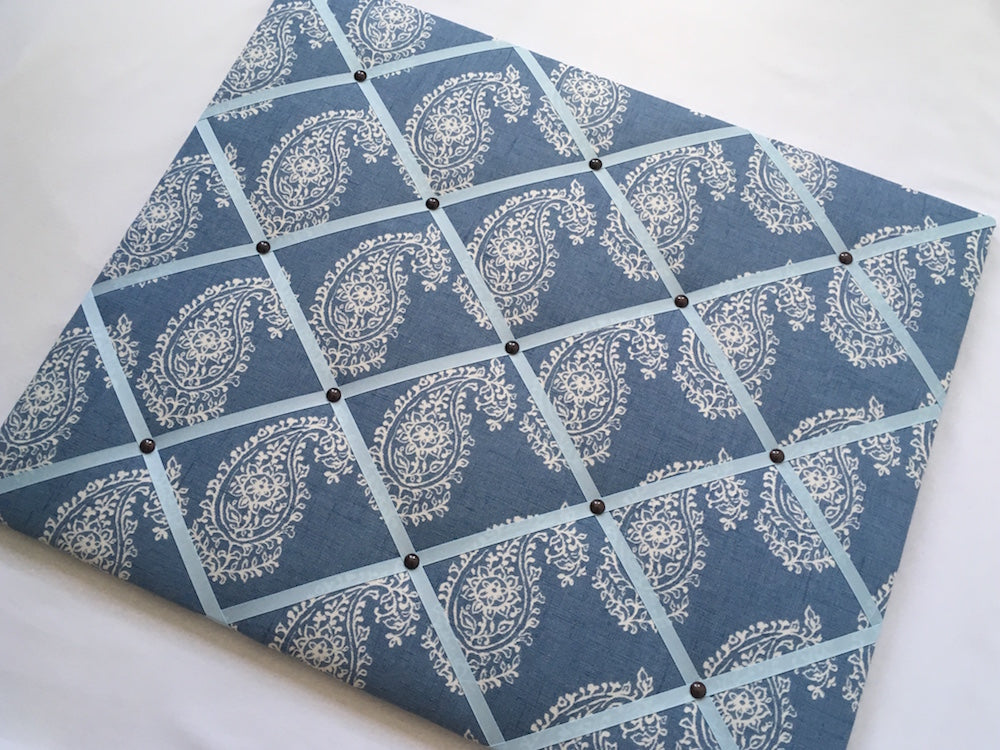 Blue Paisley Fabric Noticeboard with Coloured Ribbon