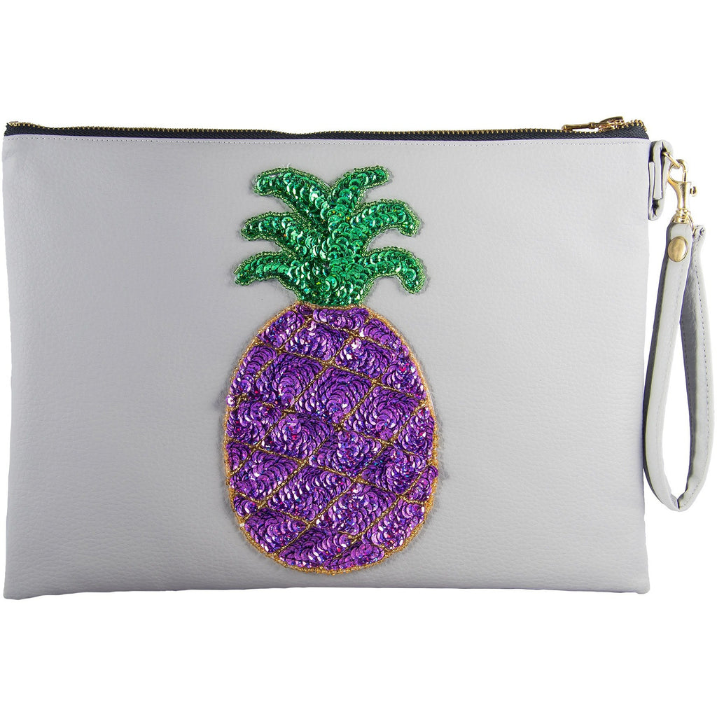 Grey and Purple Pina Clutch