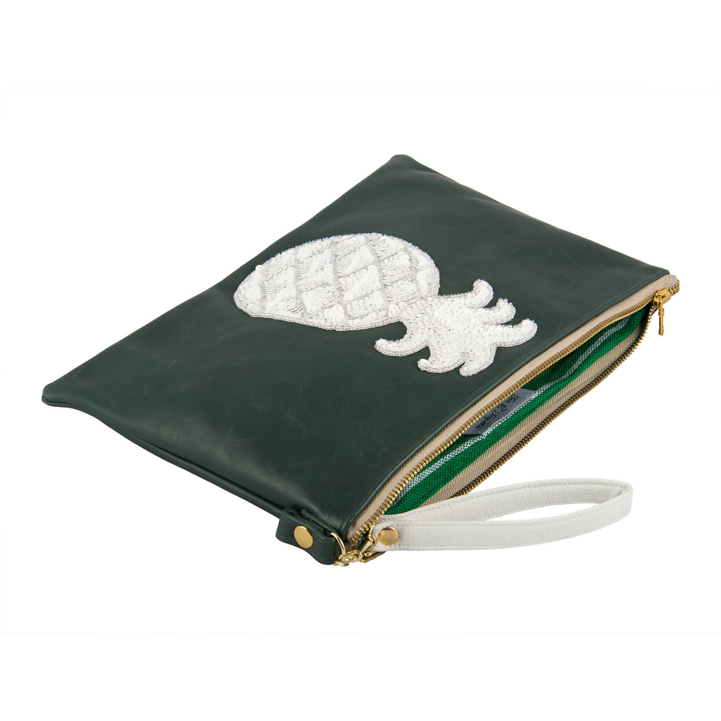 Green with White Piña Clutch