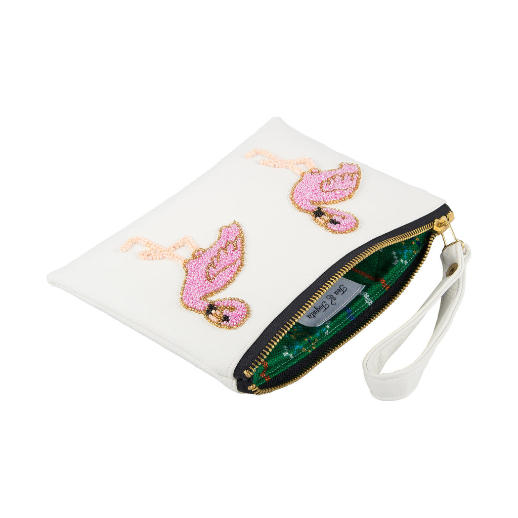 Holbox White Flamingo Clutch