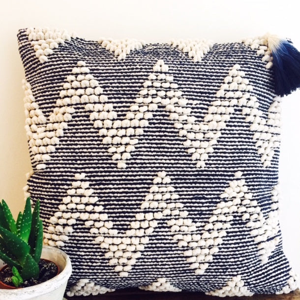 Navy handwoven Aalto Cushion with removable tassel from Projektityyny