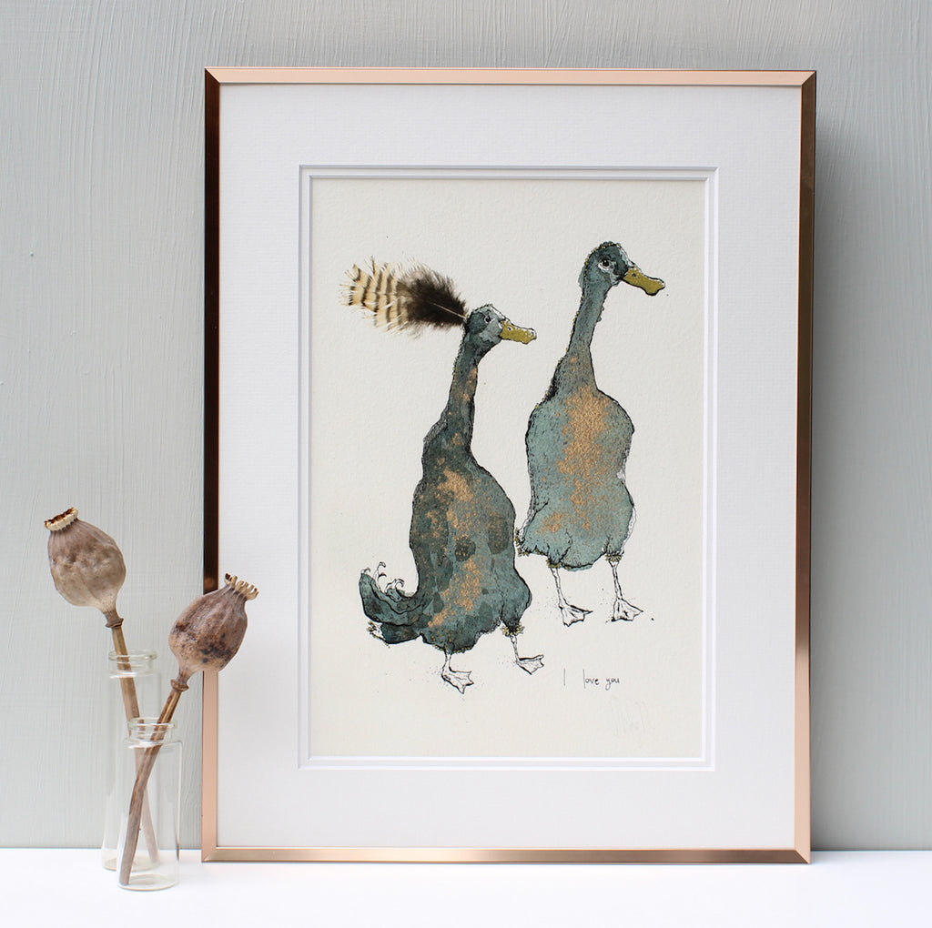 i love you ducks print from anna wright illustration