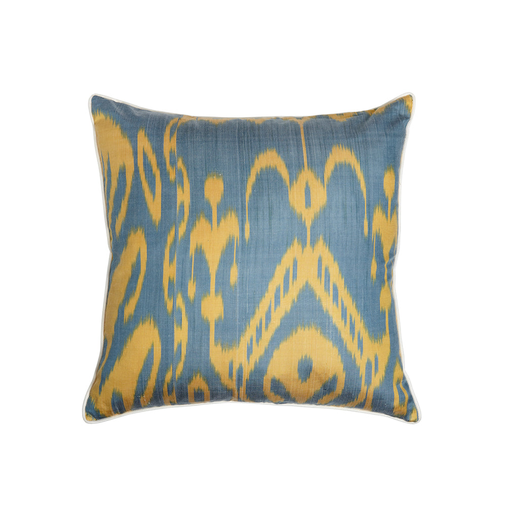 yellow and green silk ikat square cushion from rosanna lonsdale