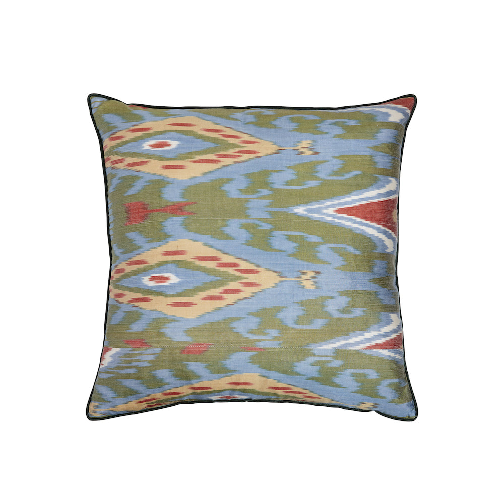 green silk ikat square cushion from rosanna lonsdale
