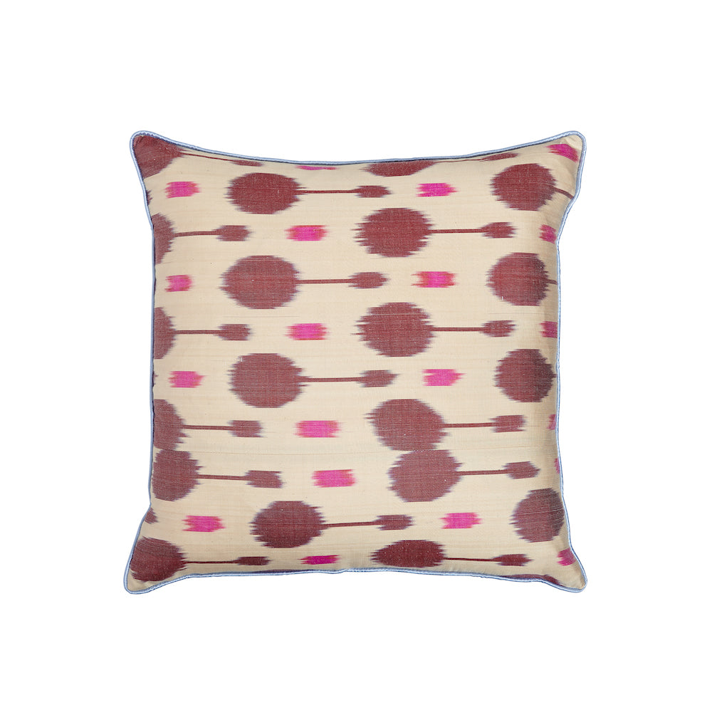 pink and burgundy silk ikat square cushion from rosanna lonsdale