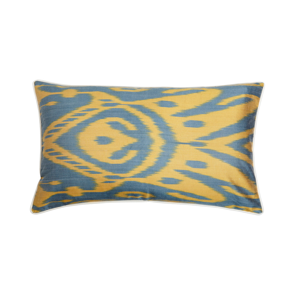 yellow and green silk ikat rectangular cushion from rosanna lonsdale