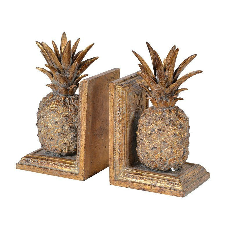 Golden Pineapple Bookends