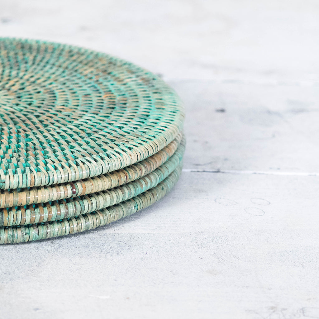 Green Rattan Placemats