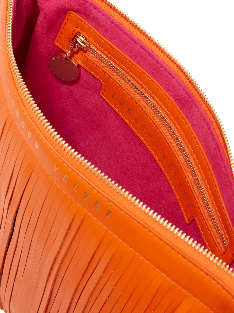 Siena Orange Fringe Bag