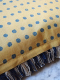 yellow and blue polka dot with fringing cushion cover from Napeansea