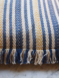 blue and yellow stripe with fringing cushion cover from Napeansea