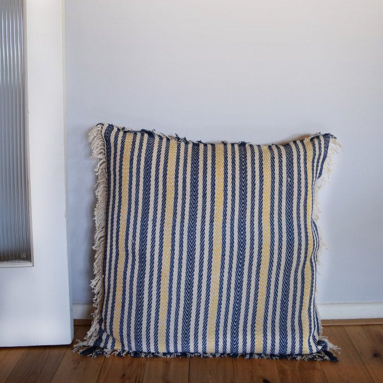 Indigo and gold stripe cushion cover from Napeansea