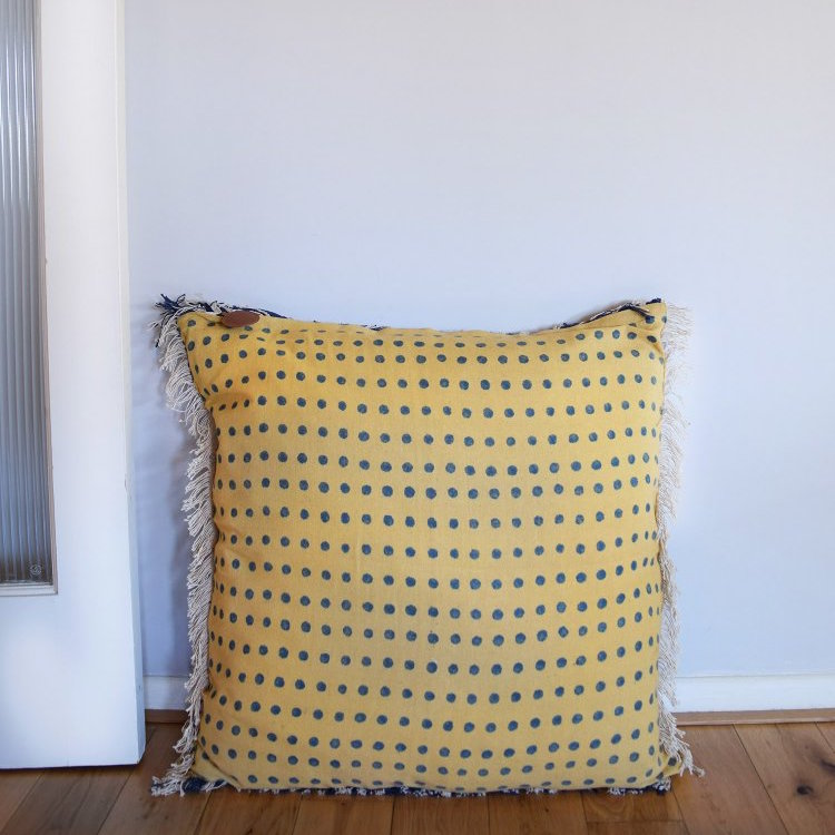Yellow and blue polka dot floor cushion cover from Napeansea