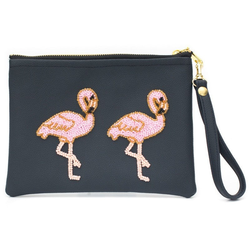 Holbox Navy Flamingo Clutch