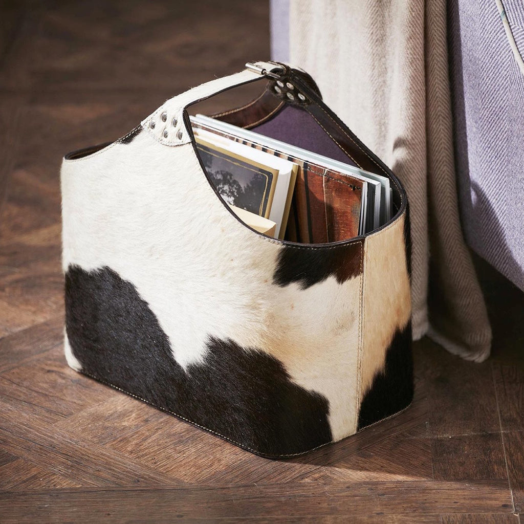 Bedford Black & White Cowhide Storage Basket