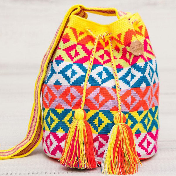 yellow, pink, green, blue and white mochila bag from brandnative