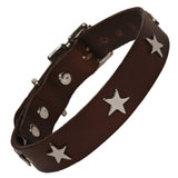 Chocolate Brown Leather Dog Collar