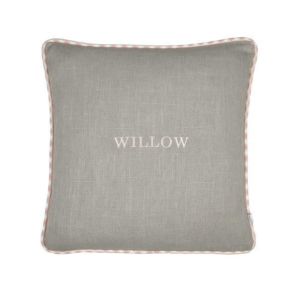 grey cushion with pink monogramming from calf and co