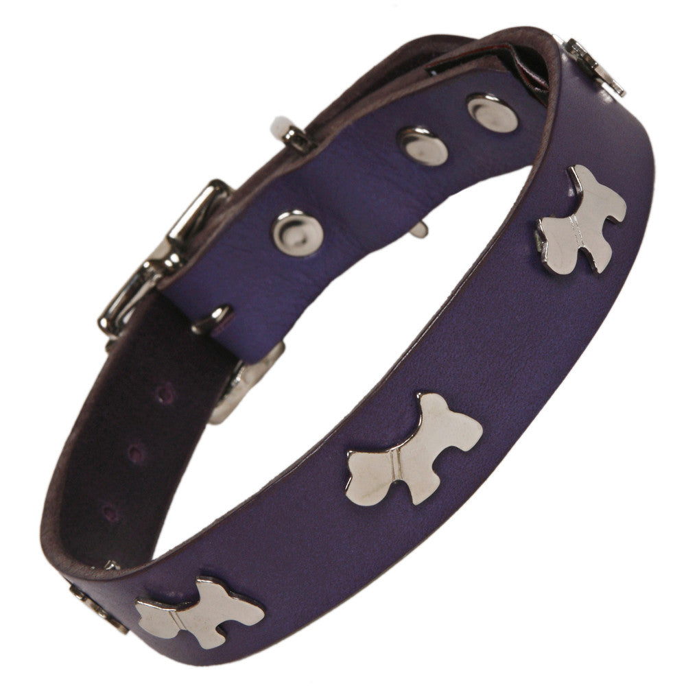Indigo Leather Dog Collar