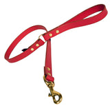 Red Leather Dog Lead
