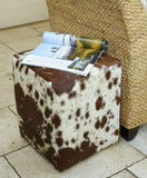 Hoxton Footstool - Chocolate & White Cowhide