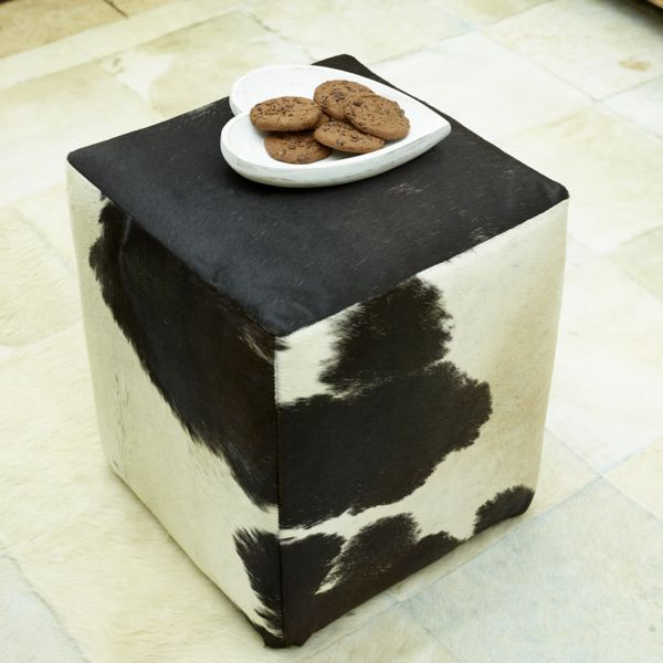 Hoxton Footstool - Black & White Cowhide
