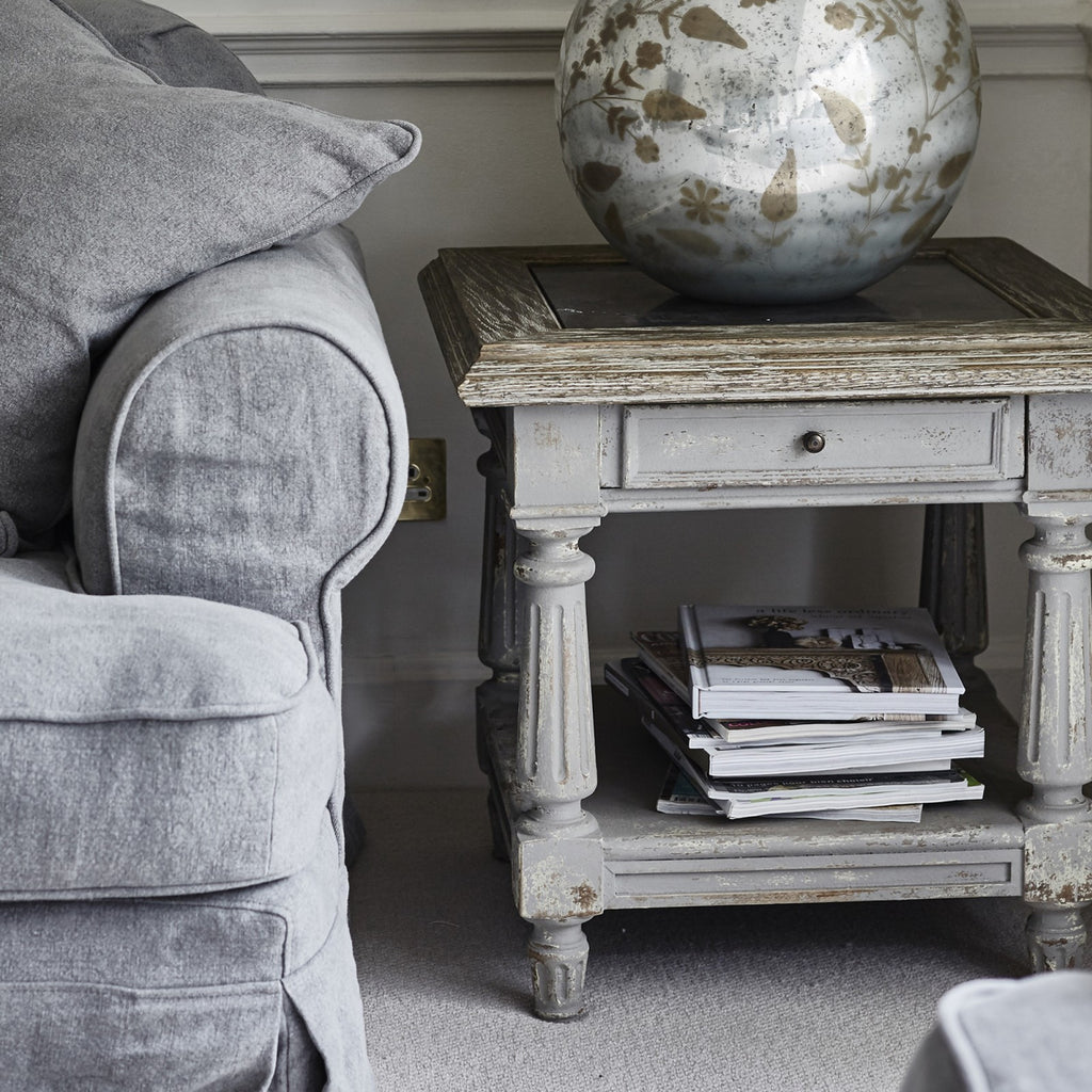 woodcroft colonial grey oak and stone top side table – handpicked