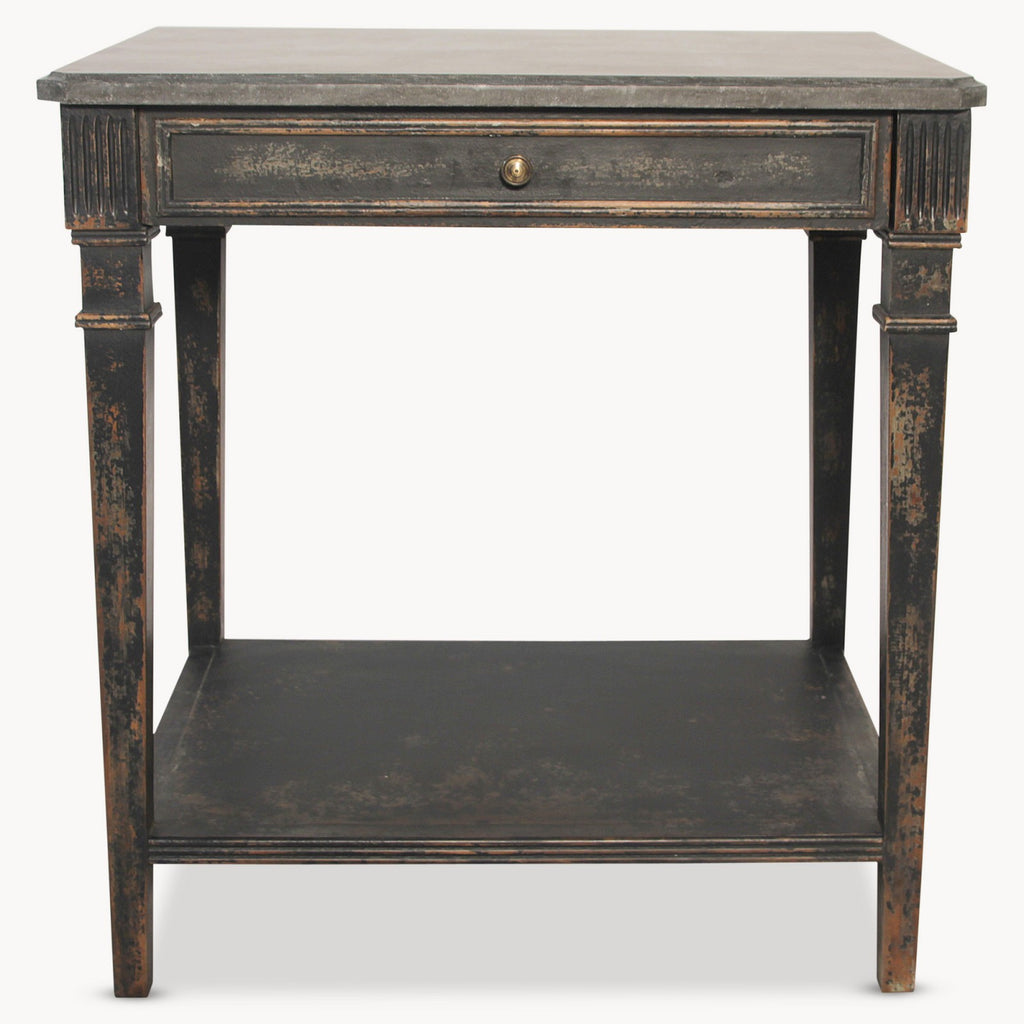WOODCROFT STONE TOP SIDE TABLE