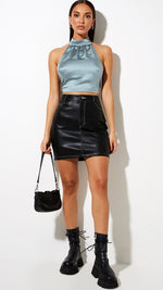 Crop top satinado azul Noela - Motel