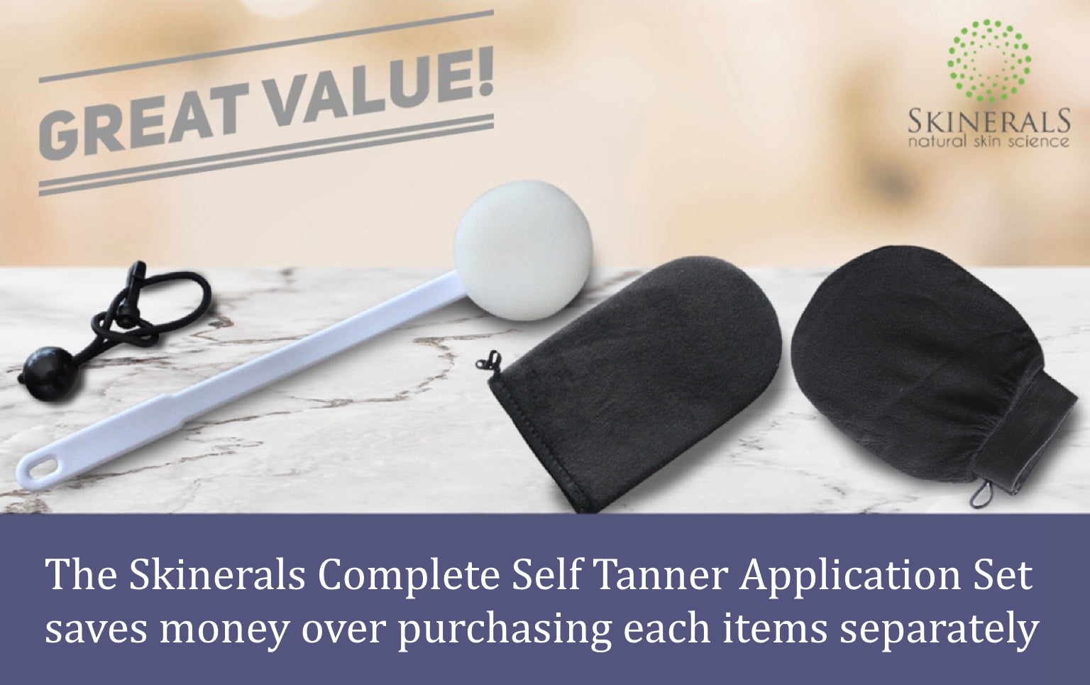 Skinerals Complete Self Tanner Application Set with Back Wand, Exfoliator Glove, and Tanning Applicator Mitt