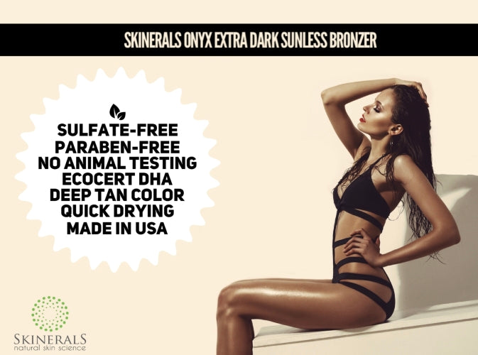 Skinerals  Onyx Self Tanner for Face and Body(Extra Dark) with Natural and Organic Ingredients for a Safe Alternative to Sun Tanning