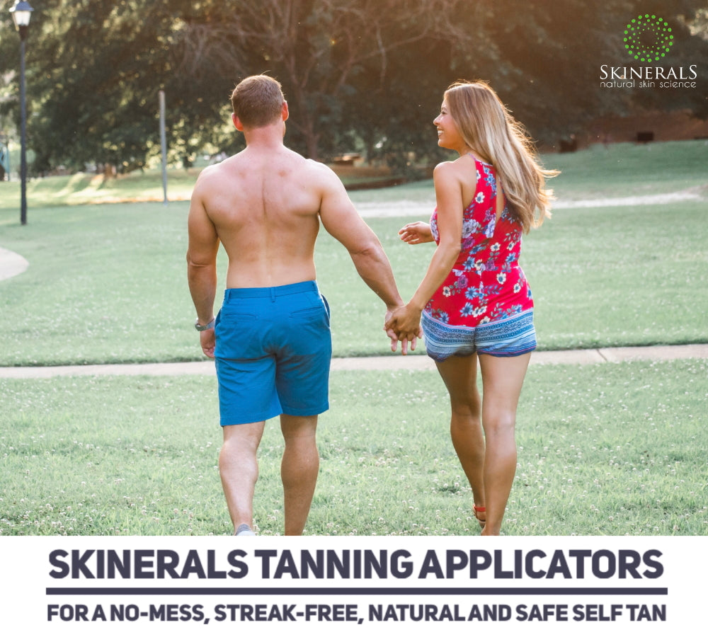 Skinerals Padded Microfiber Applicator Self Tanning Mitts With Snug No-Slip Elastic Wrist and Exfoliator Glove and Finger Face Mitt for use with Californium Sunless Tanner