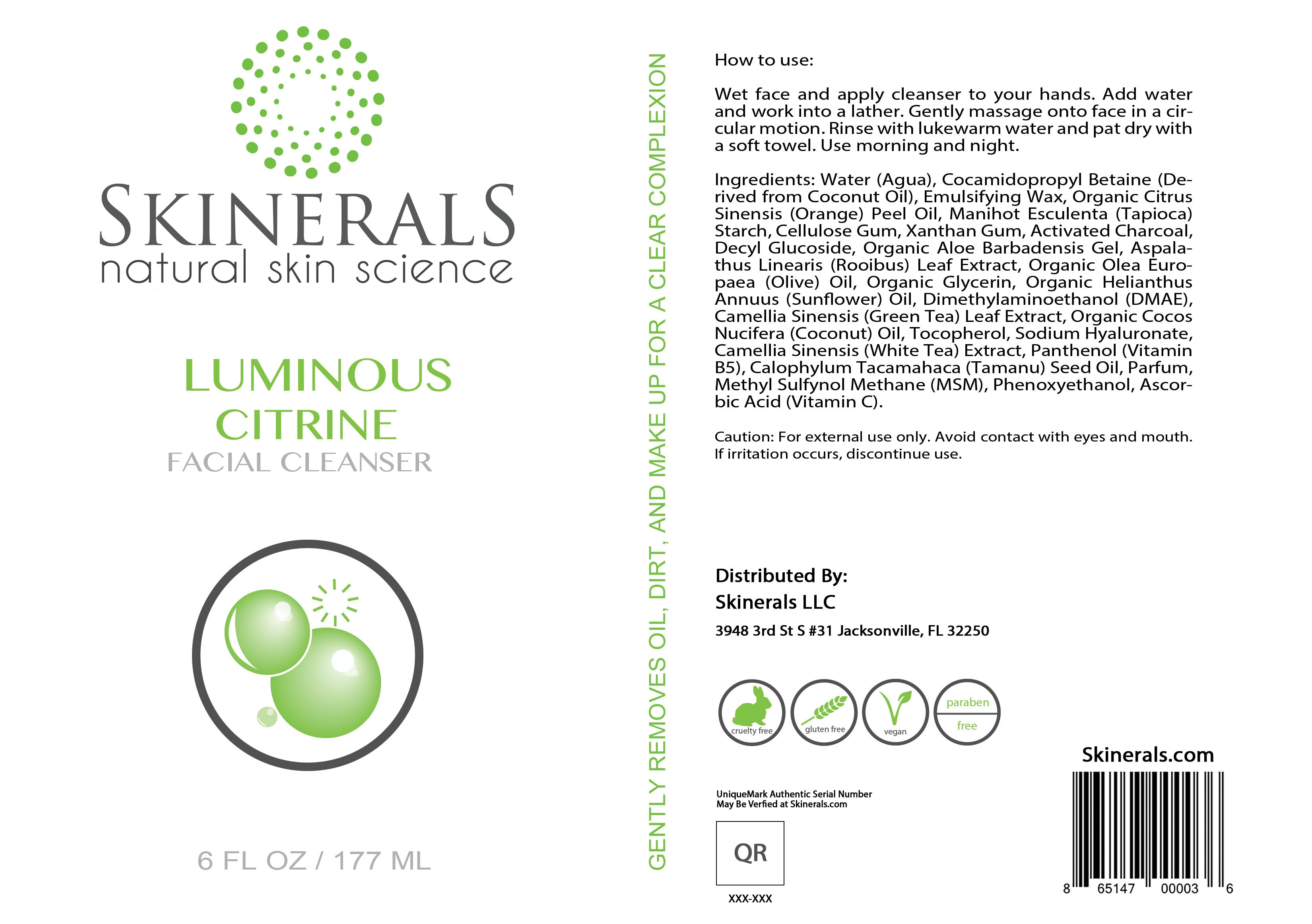 Skinerals Luminous Citrine Facial Cleanser