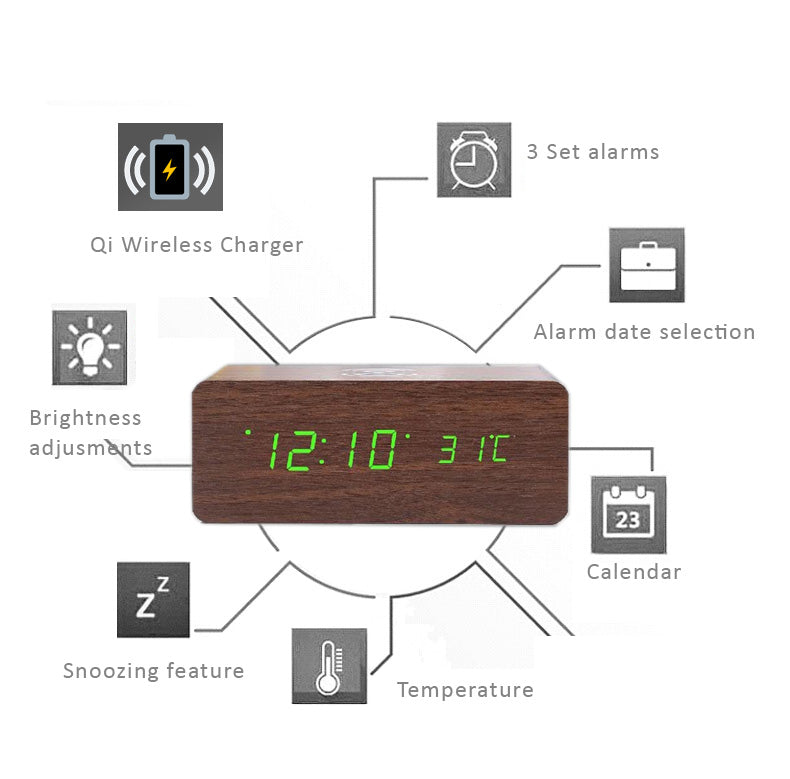 Wooden LED Alarm Clock with Time, Calendar, Temperature Display, Built-in Wireless Charger.
