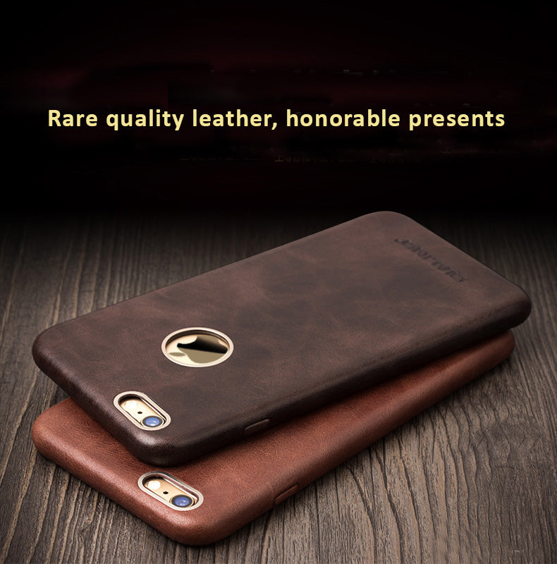 Genuine Calfskin Leather Cases/Skins for iPhone 8/8 Plus, iPhone 7/Plus, Free Gift - Tempered Glass Film