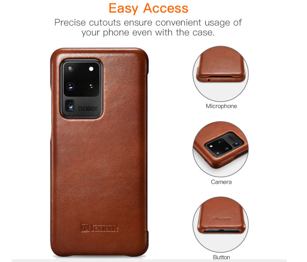 iCarer Genuine Leather Protective Cases with Flip Cover for Samsung Galaxy S20 / S20 Plus / S20 Ultra