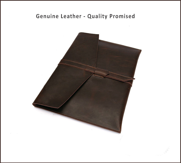 "Genuine Leather Envelope Sleeve for MacBook Air, Pro, Retina 11.6"",12"",13.3"",15.4""- Landscape - Free gift - Sleeve for cables and mouse"