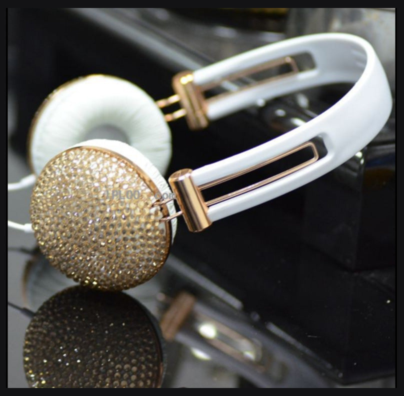 Stereo headphones  with champagne crystal set -  Trendy color to brighten up your days.