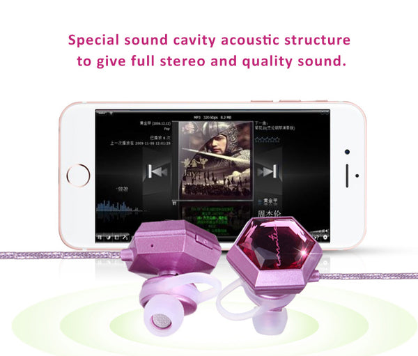 Big crystal embedded dual pairing Bluetooth HD sound headset with soft silicone earbud and hook to give ears comfort and protection.