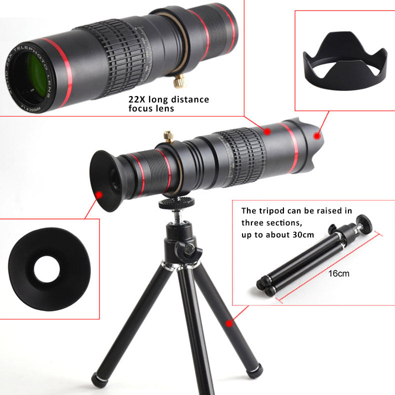 22X Zoom 4K Smartphones  Telephoto Camera Lens  bundled with tripod  + universal clip.  Fits to iPhone 8/7/6, 8/7/6 Plus, iPhone X, Samsung Galaxy, Vivo, Xiaomi, OnePlus, Huawei, Oppo.. et.